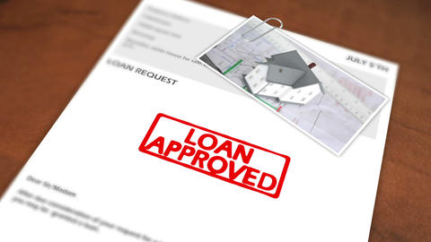 Animated stamp spelling out loan approved Animation