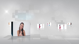 Video with screens showing women dancing and singi Animation