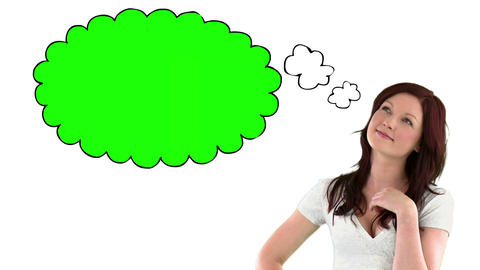 Woman with chroma key thought bubble Animation