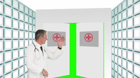 Animation with a doctor welcoming you through hospital doors Animation