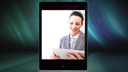 Hand using tablet to view clips of business people Animation