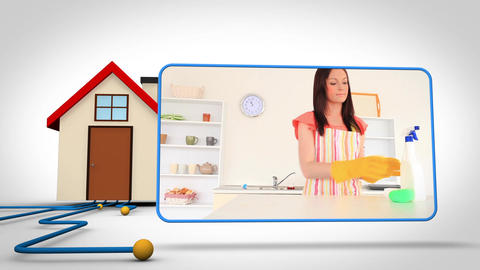 Animation with 3d house and video of woman cleanin Animation