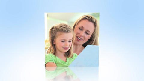 Mother and daughters using technology montage Animation