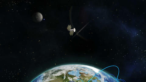 Montage of globe earth and satellites Animation