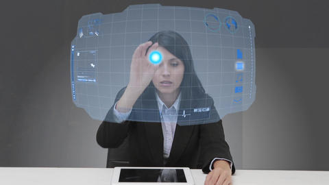 Businesswoman selecting futuristic interface Animation