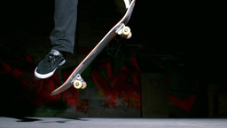 Skater Doing Ollie Trick On Concrete stock footage