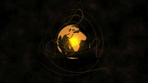 Orange earth spinning with lines emulating from it Animation