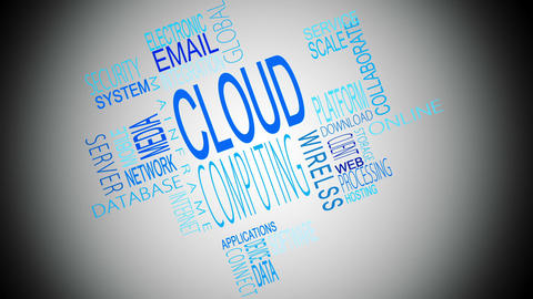 Cloud computing buzzwords montage Animation