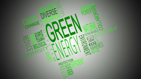 Green energy buzzwords montage Animation