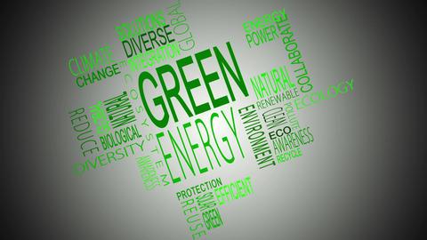 Green energy buzzwords montage Animation