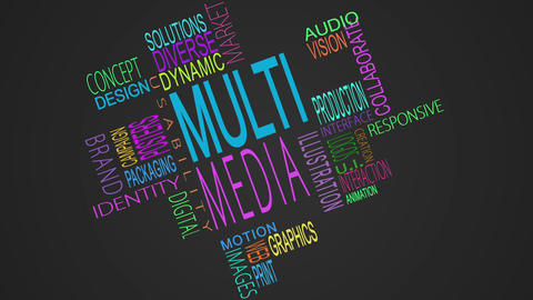 Multimedia buzzwords montage Animation