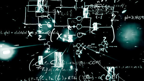 Maths equations appearing on galactic background a Animation