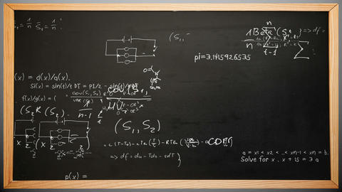 Maths appearing on chalkboard Animation