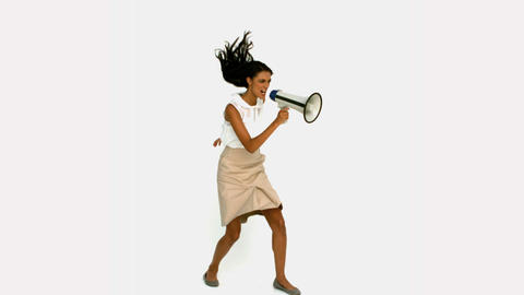 Angry businesswoman shouting on megaphone Footage