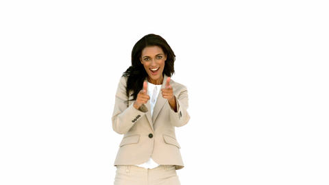 Businesswoman pointing her fingers and turning Footage
