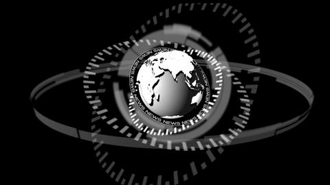 Animation of dial spinning around grey earth Animation