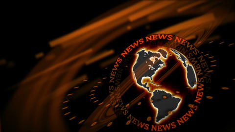 Word News revolving around a spinning Earth Animation