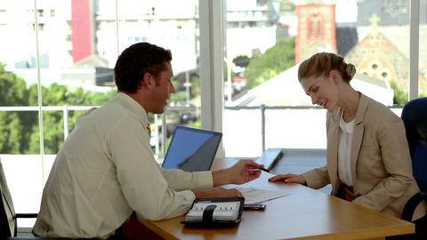 Applicant Signing An Agreement At The End Of A Job stock footage