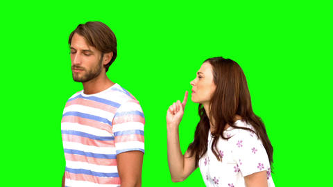 Couple arguing on green screen Live Action