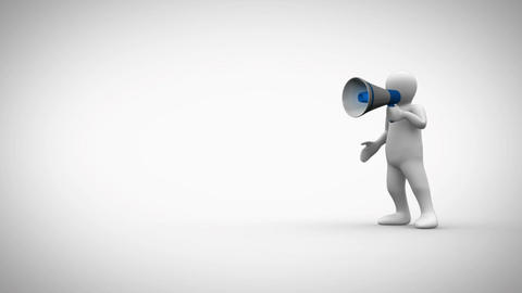Animation of a 3D character shouting business term Animation