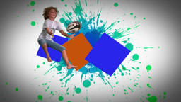 Montage of children jumping and playing in slow mo Animation