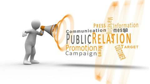 White figure yelling into a megaphone to reveal public relation terms Animation