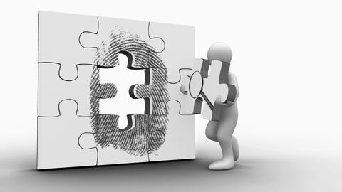 White figure holding a jigsaw piece with a magnifying glass on it Animation