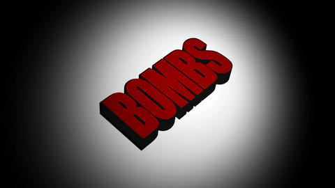 The word bombs landing and exploding, Stock Animation