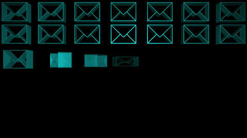 Blue envelopes appearing in a grid animation Animation
