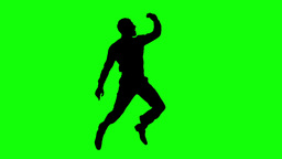 Silhouette of a jumping man on green screen Footage