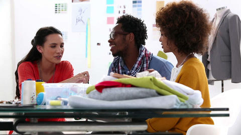 Young Fashion Designers Discussing Together stock footage