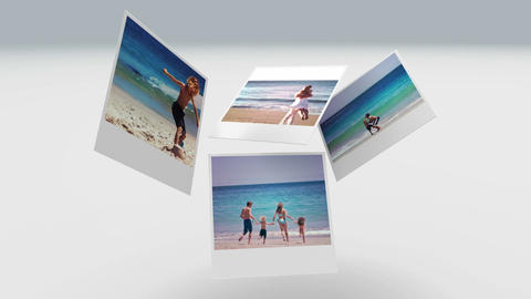 Instant photos of summer scenes floating Animation