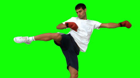 Boxer performing an air kick on green screen Live Action