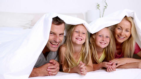 Family under a duvet Footage