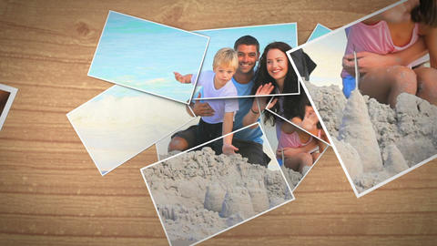 Instant photos falling and showing a family on the Animation