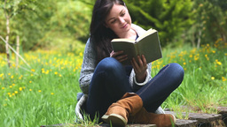 Woman sitting on grass reading a book Footage