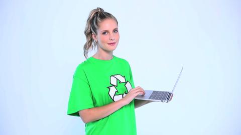 Smiling environmental activist giving thumb up Footage