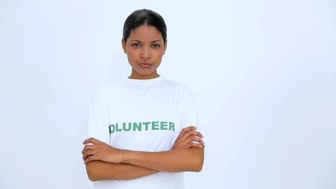 Volunteer woman crossed her arms Footage