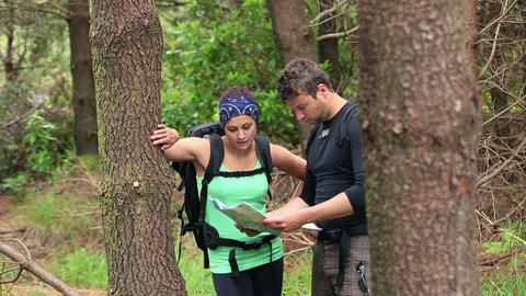 Fit couple exploring a wooded area reading a map Footage