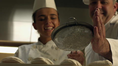 Chef Giving A Desert The Finishing Touch stock footage
