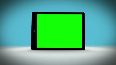 Tablet with green screen on changing background Animation