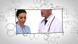 Doctors working in labs over chemical drafts Animation