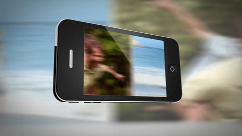Smartphone displaying family outdoors Animation