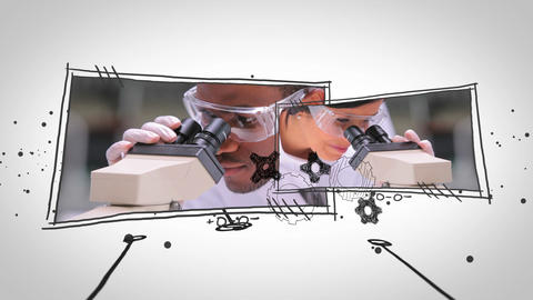 Videos of lab assistants popping up Animation