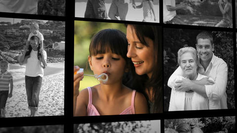 Three short clips about a family outdoors Animation