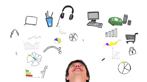 Colored animation showing consumer behavior and a content man Animation