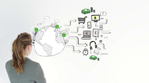 Animation of graphics showing global consumer behavior and businesswoman Animation