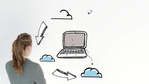Animation showing cloud computing and a businesswoman Animation
