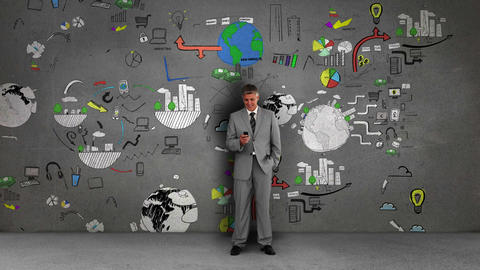 Businessman standing in front of animated business flowcharts Animation