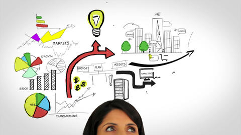 Colored animation showing business plan and a woman watching Animation
